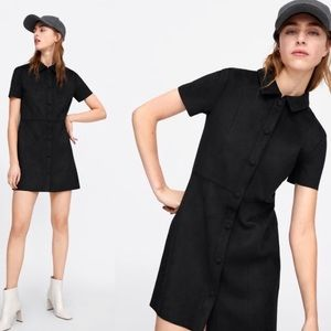 ZARA BLACK SUEDE BUTTON UP COLLARED DRESS
